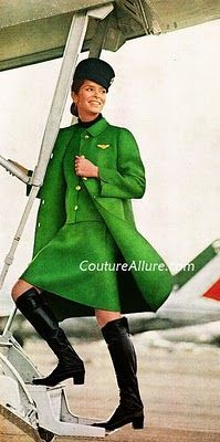 """Mila Schon, 1969-1972 In 1969, when Alitalia's logo changes from the """"Freccia Alata"""" bow and arrow to the tricolor A on the livery, Mila Schon, designer to Jackie Kennedy's wardrobe reinvents the uniform by shortening the skirts and proposing completely new colors: a bright green and red."""