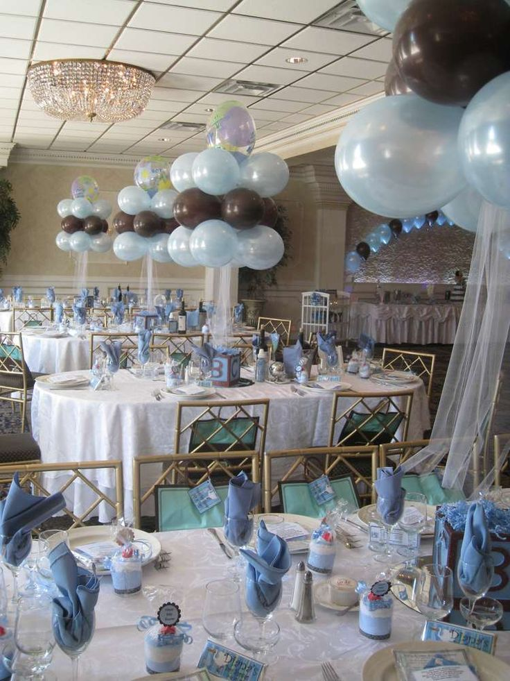 Blue brown and blocks baby shower party ideas baby for Balloons arrangement decoration