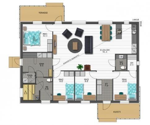 Designtalo | Hailuoto 143 talopaketti pohjakuva sisäänkäynti päädyssä