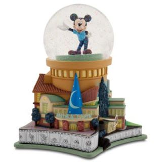 """(front) D23 Membership Exclusive Walt Disney Studios, Musical (Mickey Mouse March), Mickey Spins, Glitter, 9"""", $99.50"""