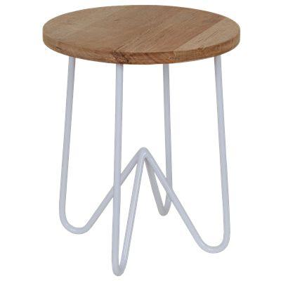 Krukje Ferro 29164 wit met hout #Casabella #Wonen #Kruk #Furniture