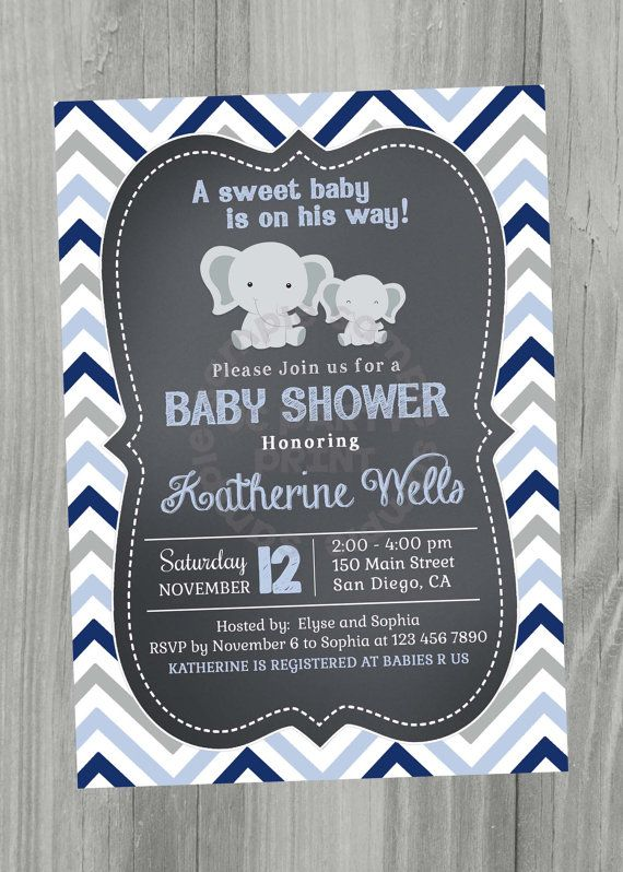 Chalkboard Baby Shower Invitation Grey and Blue by JCpartyprint
