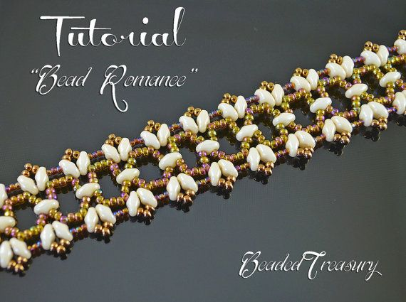 Bead Romance - superduo bead pattern, beaded lace bracelet pattern, seed beads pattern, beading tutorial, lace bracelet  / TUTORIAL ONLY