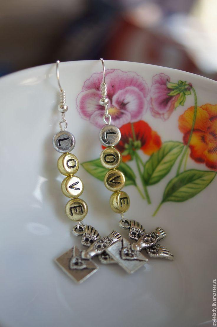"""Купить Серьги """" LOVE """" - серебряный, птица, серьги, серьги ручной работы, посеребрение"""