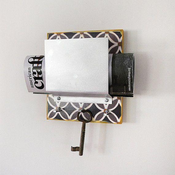 Small space organizer mail phone wallet device key organizer key hooks shelf mail holder - Wall mounted mail organizer and key rack ...