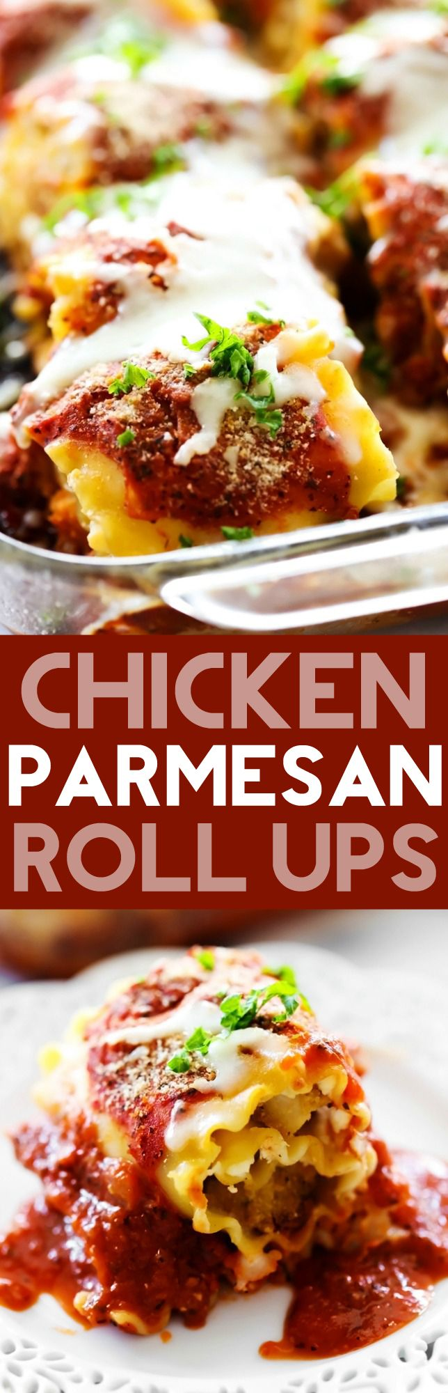 Chicken Parmesan Roll Ups.. Breaded Chicken and seasoned Parmesan Cream Cheese rolled up into lasagna noodles and covered in a delicious homemade marinara sauce. This dinner will quickly become a new favorite!