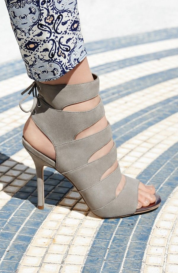 It's all about the shoes. Love the corset laces up the back of these strappy suede sandals.