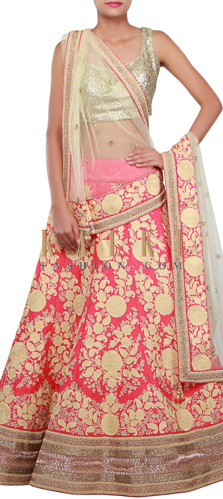 Buy Online from the link below. We ship worldwide (Free Shipping over US$100) http://www.kalkifashion.com/pink-lehenga-adorn-in-thread-and-zari-embroidery-in-paisley-motif-only-on-kalki.html