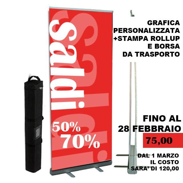 Stampa + grafica di roll-up, puoi acquistare il prodotto anche a questo indirizzo http://www.sasypinto.it/shop/