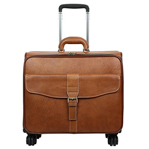 Leathario Leather Rolling Laptop Case Wheeled Briefcase Suitcase Roller Boarding Under Seat Case.