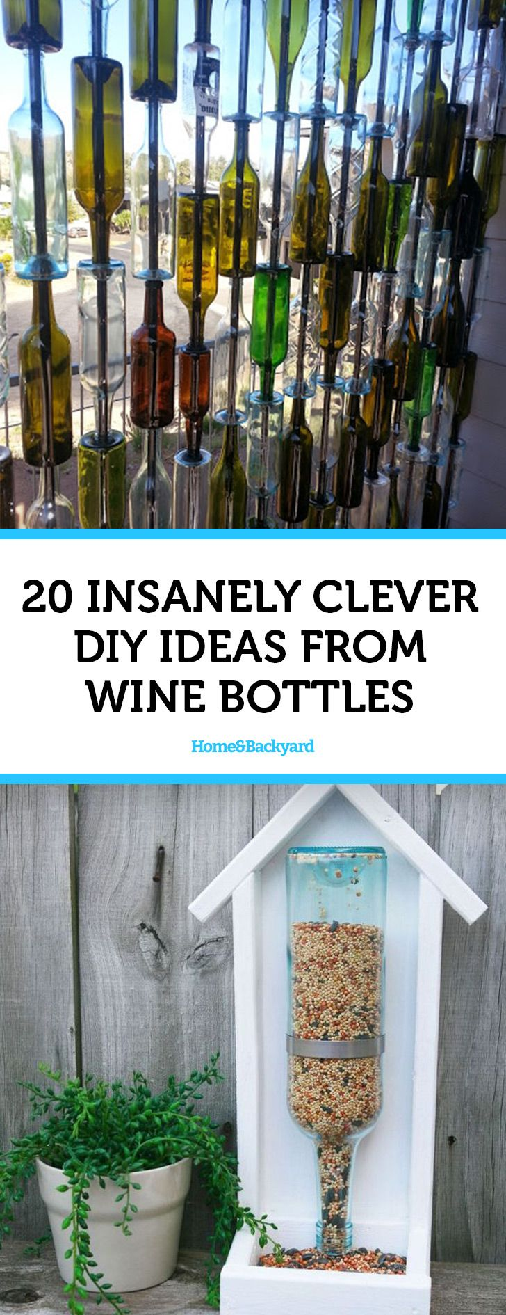 We featured 20 of our all time favorited DIY projects and crafts made from wine bottles. Click on image to see them on HomeBackyard.com