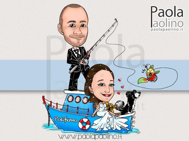 Ecco una #caricatura di #sposi su #barca, sulla loro personale imbarcazione d'amore! #caricature #caricaturista #matrimonio #wedding #weddingdraw