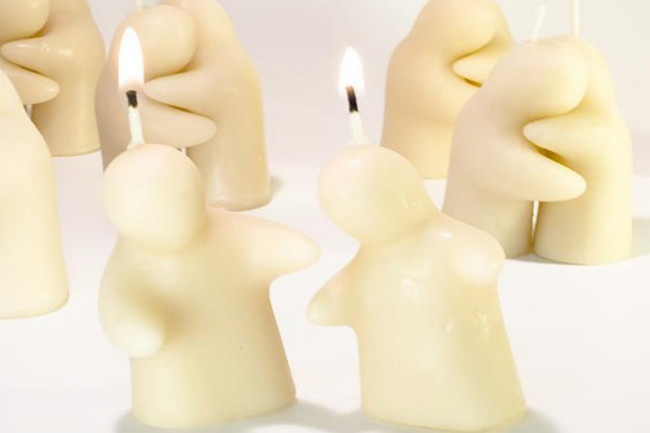 A sweet pair of bees wax candles intended to represent a 'functional' relationship. They love being together, but burn best when apart!