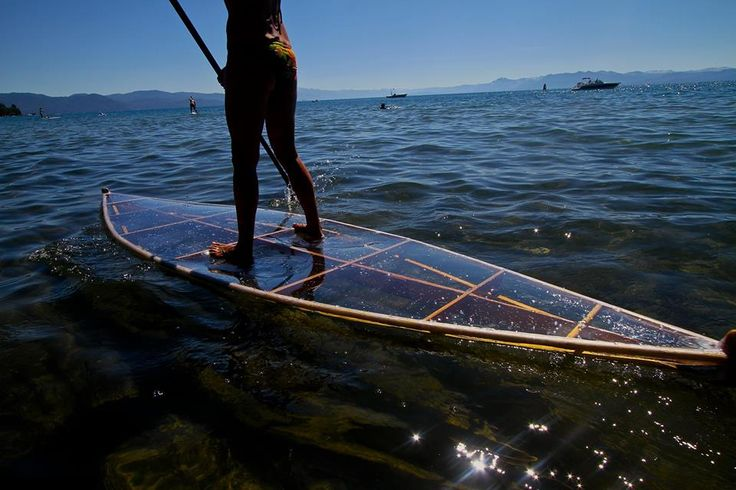 SUP/paddleboard wood framed, covered with solid clear plastic material