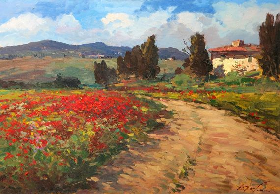 Large Tuscan Landscape Painting Original on Canvas, Tuscan Art, Tuscan Painting, Poppies Tuscan Painting, Tuscan Landscape Art, Canvas Art