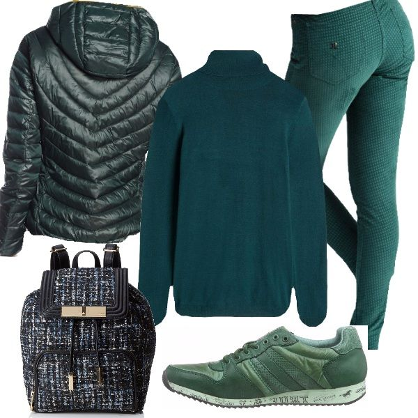 Outfit comodo e caldo per una giornata informale: pantaloni a sigaretta, disegno pied de poule, dolcevita in viscosa, piumino con cappuccio. Ho completato l'abbigliamento con sneakers verdi e zainetto borsa a fantasia.