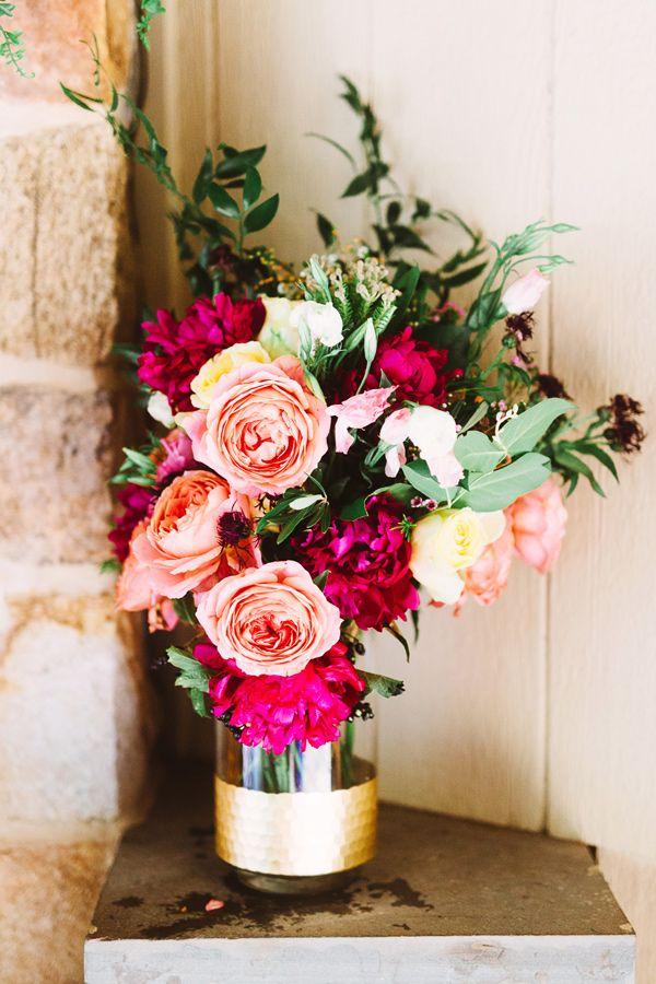 hot pink wedding flowers - photo by Pat Furey http://ruffledblog.com/stylish-pennsylvania-bird-sanctuary-wedding