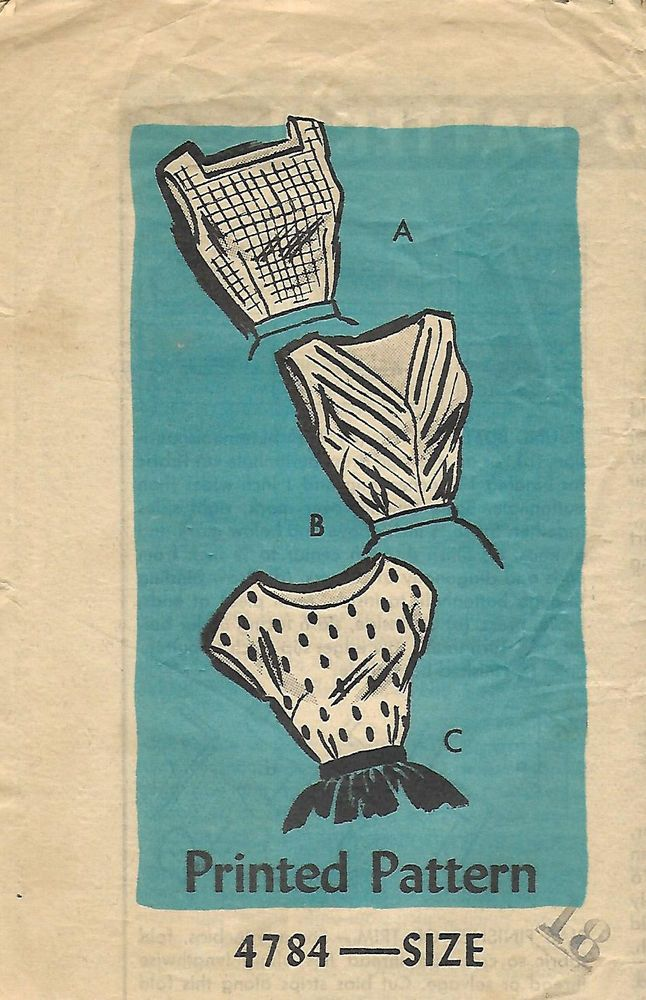 1950's Vintage Sewing Pattern Sexy Rockabilly Tops  Neckline Options Bust 38""