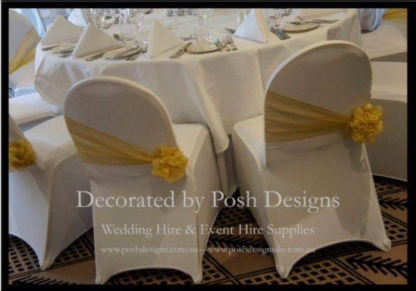 Yellow organza sashes - #wedding and #event #theming available at #poshdesignsweddings -  #sydneyweddings #countryweddings #southcoastweddings #wollongongweddings #ruffledsashes #weddingsashes All stock owned by Posh Designs Wedding & Event Supplies - lisa@poshdesigns.com.au or visit www.poshdesigns.com.au or www.facebook.com/poshdesigns.com.au #Wedding #reception #decorations #Outdoor #ceremony decorations #Corporate #event decoration #Fundraising event decoration #School #graduations