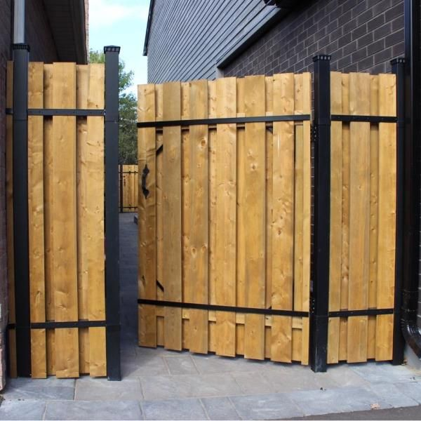 Slipfence 4 Ft X 6 Ft Wood And Aluminum Fence Gate Kit Sf2 Gk100 The Home Depot In 2020 Aluminum Fence Gate Fence Gate Wood Fence
