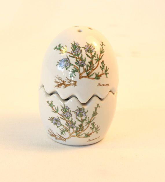Salière et poivrière en forme d'œuf en porcelaine vintage - sel et poivre - Vintage Français - céramique de table - Accessoire de cuisine