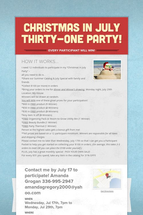 Christmas in july thirty one party thirty one consultant ideas