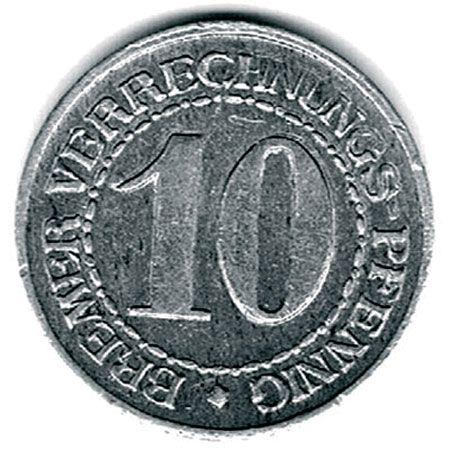 Auf Beschluß des Senats wurden im Jahr 1924 werbeständige Verrechnungsmünzen hergestellt und ab dem 16.3.1924 in den Verkehr gebracht. Die Verrechnungsmünzen liefen nur kurze Zeit und wurden schon im September 1924 wieder eingezogen, um der Reichsmark der Weimarer Republik zu weichen. Auf der einen Seite zeigt die Münze den Bremer Schlüssel und auf der anderen Seite die Umschrift und das Nominal.