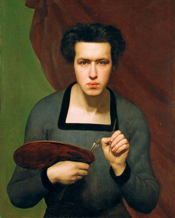 Louis Janmot (1814-1892) • Autoportrait, 1832 peinture à l'huile -nous fixe     -représenter comme une femme    -tablette de peinture