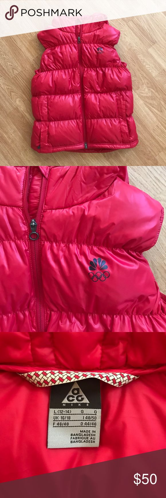 Women's Nike ACG Down NBC Olympic Vest Awesome Nike down filled vest with the NBC logo from the Olympics! Excellent condition doesn't appear to be worn! Has a hood, 2 front pockets and a hem cinchcord. Large 12/14 Nike ACG Jackets & Coats Puffers