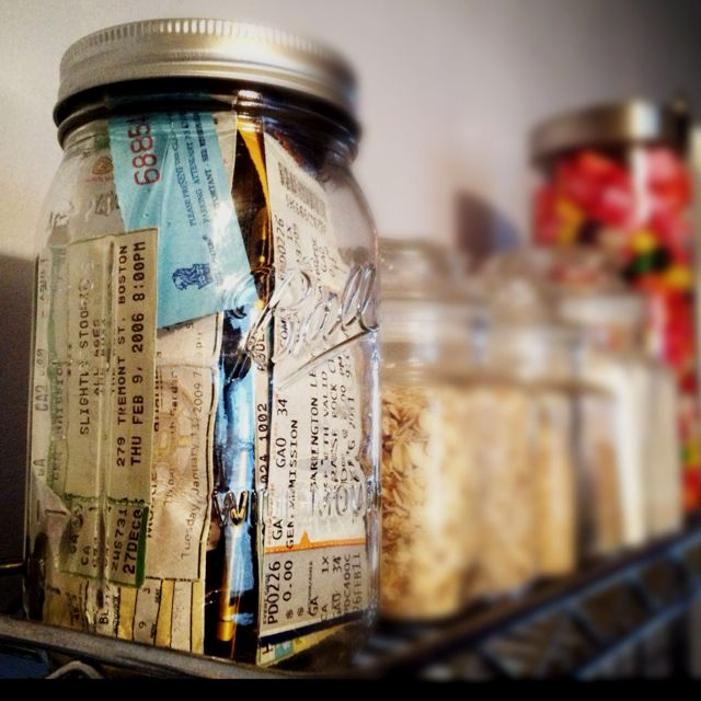 Mark and I  ticket stub mason jar. Filled with 5 years of memories! :)Concert Tickets Display, Ticket Stubs, Concerts Ticket Display, Music Concerts, Memories Jar, Concerts Mason Jars, Concerts Ticket Mason Jars, Diy, Bedrooms Ideas