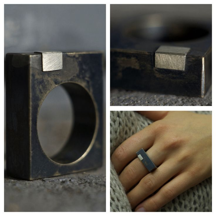 Minimalistic brass and silver ring by ||WILDHORN|| jewelry
