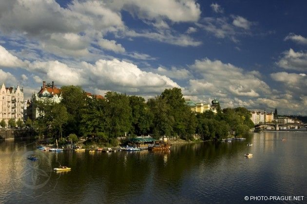 Slavic island in Prague with its boat rentals