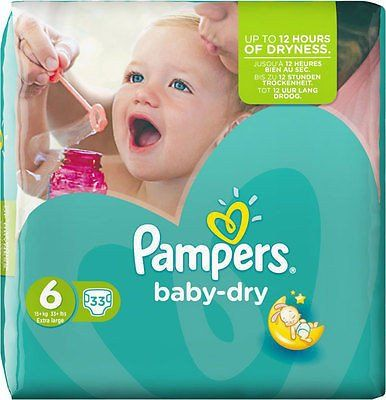 Pampers Baby Dry Size 6 Extra Large 15kg+ (33)
