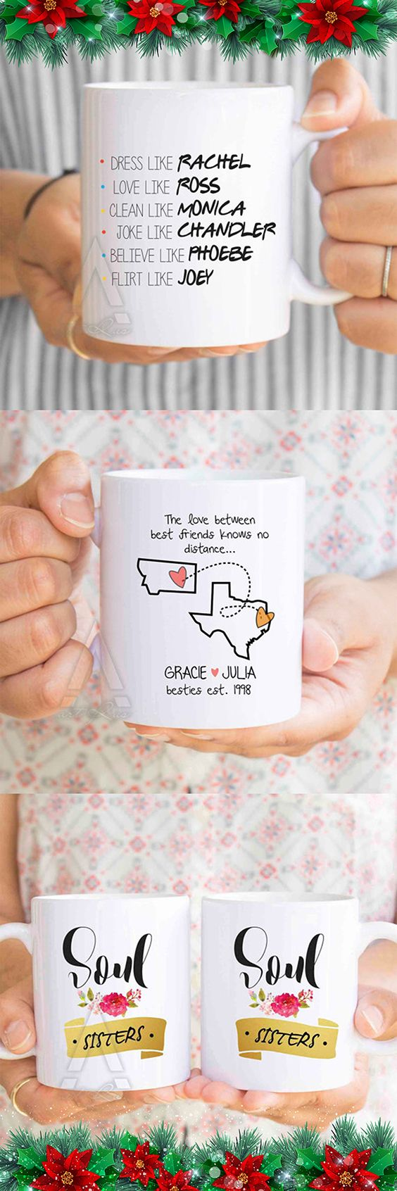 Christmas Gifts for Best Friends, long distance friendship gifts, coffee mugs, mug set.