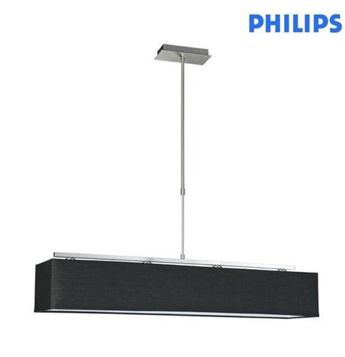Pendente ( Lustre ) Manhatan Roomstylers Metal Escovado Tecido Preto 4x E-14 60w 36671/17/06 - Philips - Luzetc