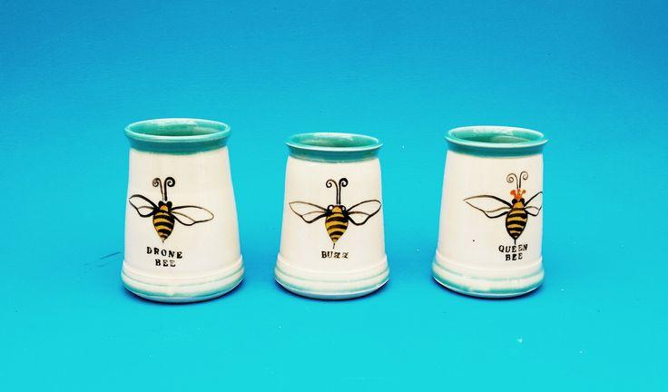 Buzz bee, Drone Bee, Queen Bee,  Beer Stein, Handmade Mug, Pint, Tankard, Wedding Gifts by CindySearles on Etsy