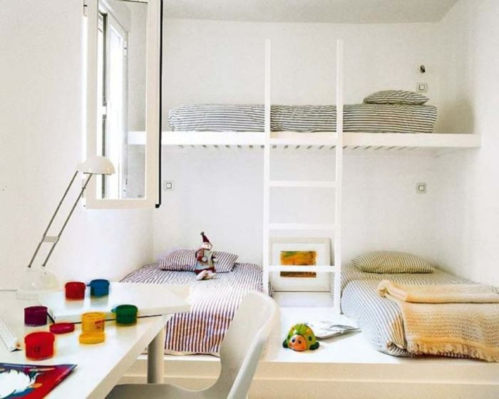 this is way too minimalist for me but thisis a good idea for putting 3 kids in one room loft bed on top two beds on bottom iu0027d put a nightstand