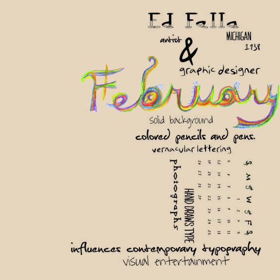 Edward Fella, 1983, style: calendar for february