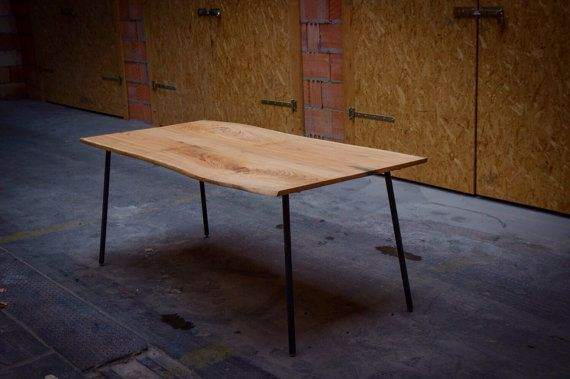 OAK DINING TABLE: Red Oak Dining Table on Steel by HardmanDasein