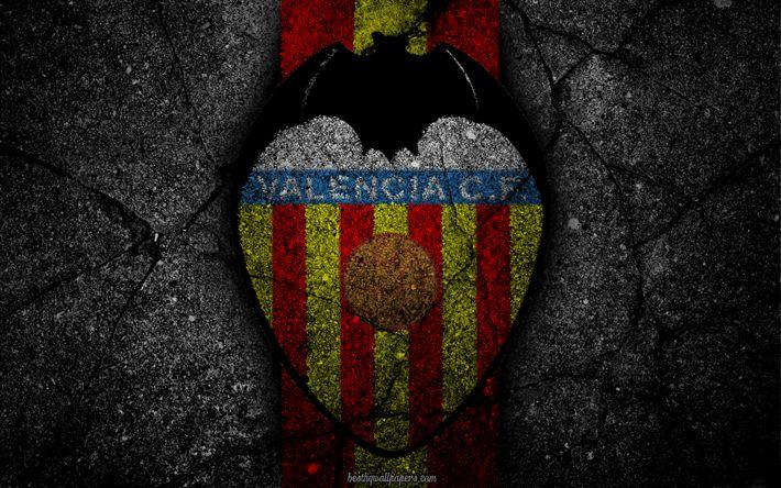 Download wallpapers Valencia, logo, art, La Liga, soccer, football club, LaLiga, grunge, Valencia FC