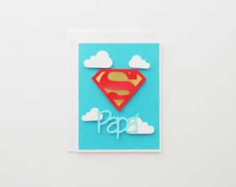 Tarjeta de Día del Padre Super Dad Super Man por CorazonesdePapel