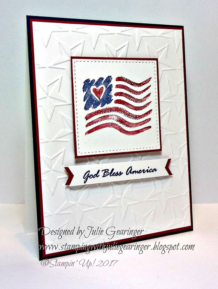 CAS God Bless America (retired Stampin' Up! circa 2001); Ink/Mediums: Stampin' Write Markers- Cherry Cobbler, Night of Navy; Paper: Whisper White, Cherry Cobbler, Night of Navy; Accessories: Big Shot™, MFT™ Stitched Square STAX Dies, Cuttlebug™ 3D Stars Embossing Folder