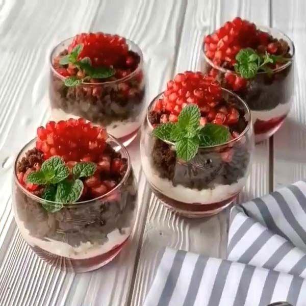 دسر انار سه لایه خوشمزه و آسان ویژه شب یلدا مجله تصویر زندگی Recipe Yummy Food Dessert Food Iranian Cuisine