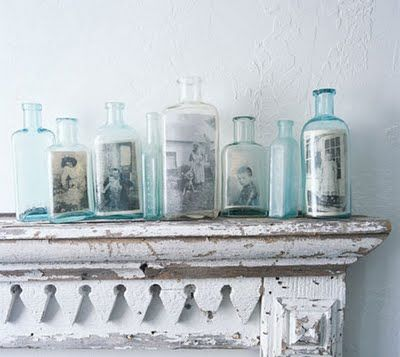 photos in bottles: Display Photos, Vintage Photos, Vintage Bottle, Families Photos, Photos Display, Old Bottle, Glasses Bottle, Old Photos, Pictures Frames