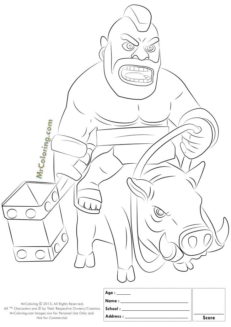 Free Printable Clash of Clans Hog Rider Coloring Pages - 1