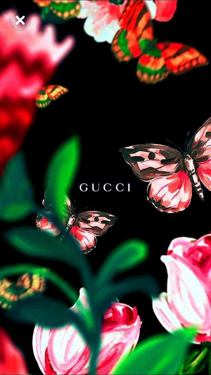 Gucci lockscreen wallpaper flowers butterflies
