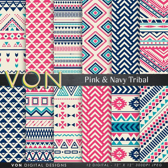"Aztec Digital Paper: ""PINK NAVY AZTEC"" aztec patterns, tribal background, lime geometric background, blue digital paper, triangles, arrows,"