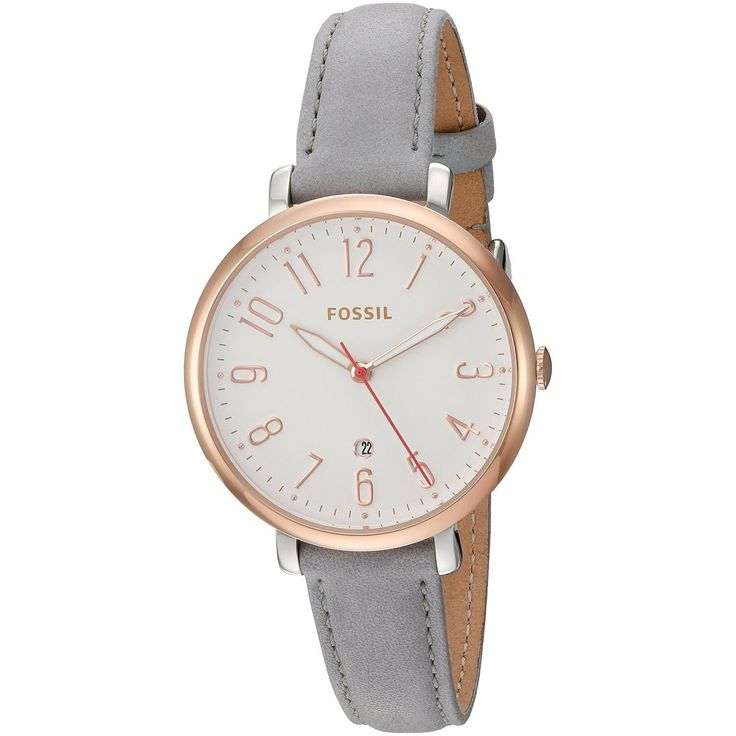 Fossil's founding principal of bringing fashion and function together is visible in their unique styles. This women's watch from the Jacqueline collection features a grey leather strap and white dial.