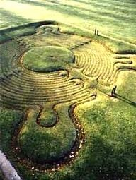 Turf Maze, Town of Saffron Walden, England, ca 1699. The most famous and one of the best preserved ancient turf mazes in the UK.