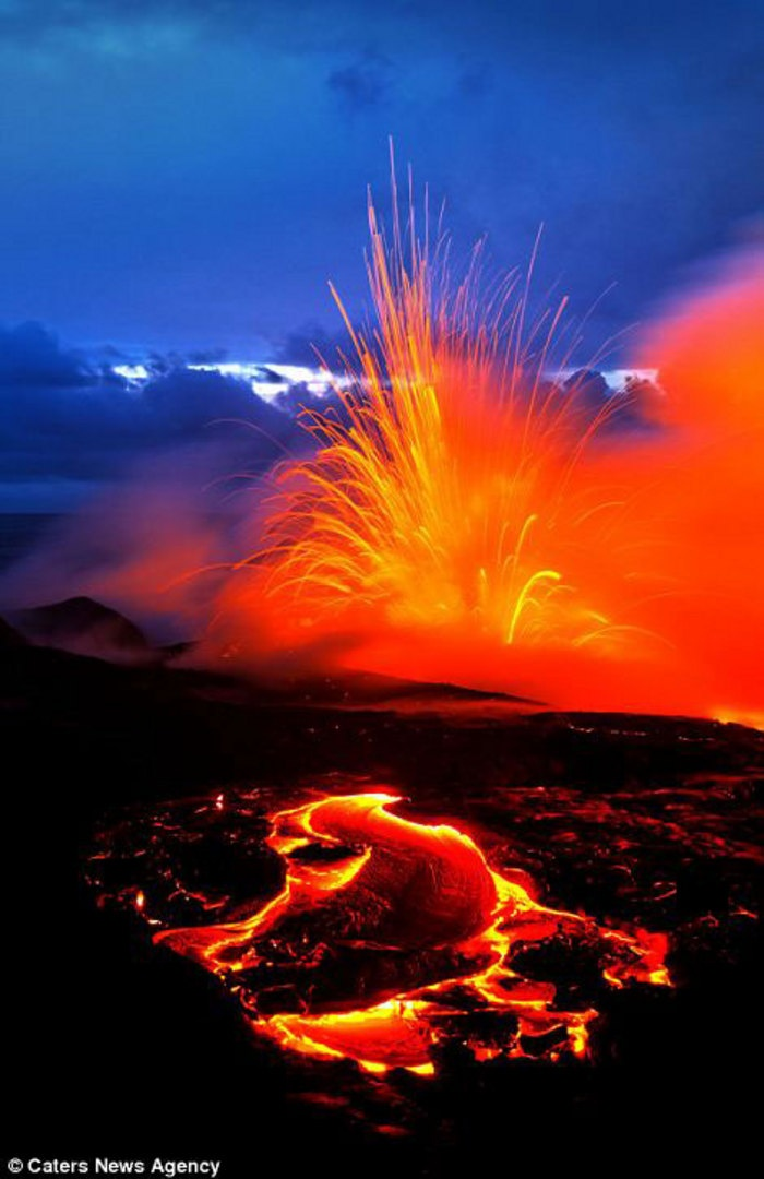 Best Our Amazing Earth Images On Pinterest Landscapes - Incredible neon blue lava flames erupt volcano